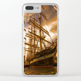 Tall ships in the sunset Clear iPhone Case