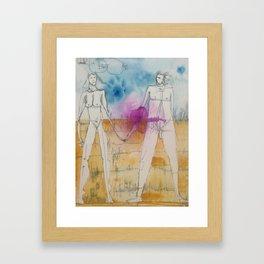 Loving Couple, Ink on Paper by Jain McKay. Framed Art Print
