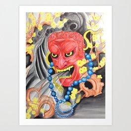 Fudomio Buddhas Guardian with Plum Tree (water color) Art Print