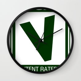 Rated V for Vegan Wall Clock