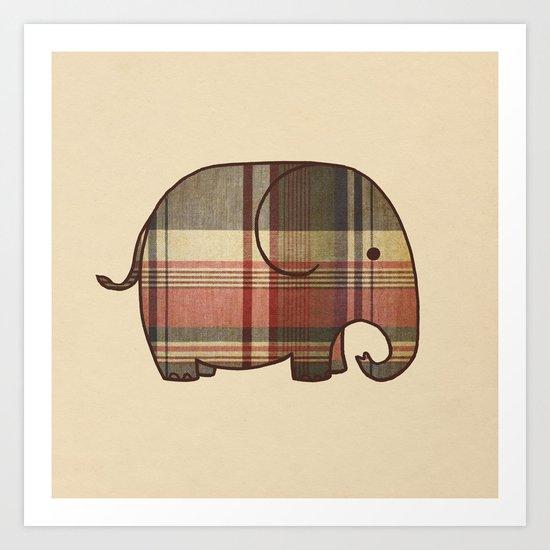 Plaid Elephant  Art Print