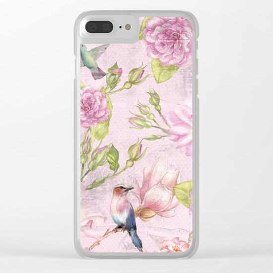 Floral painterly background in pink with Roses Flowers and Birds Clear iPhone Case