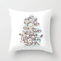 otters Throw Pillows featuring Wild family series - Otters by Choc Ye