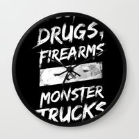 alcohol Wall Clocks featuring Alcohol, Drugs, Firearms & Monstertrucks by Tim Lute