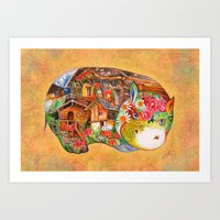 hippo Art Prints featuring hippo by oxana zaika