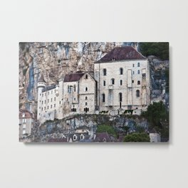 Medieval Facade of the French Castle in Rocamadour Metal Print