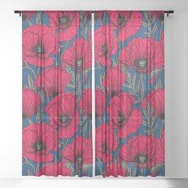 Night poppy garden  Sheer Curtain
