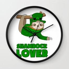 ST PATRICKS DAY SHAMROCK Sloth Gift Kids Wall Clock