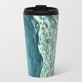 Teal Crescent Wave Travel Mug