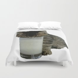 Cute Wild Kitten With A Glass Full of Optimism Duvet Cover