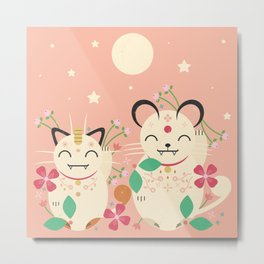 Lucky Cats Metal Print