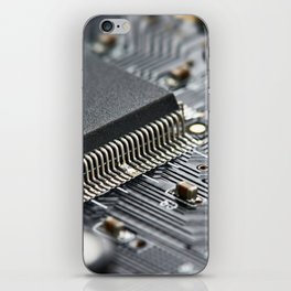 Elements of electronic circuit board iPhone Skin