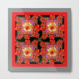 GREY & BLACK ART RED DECO ORANGE-RED POPPIES Metal Print