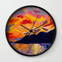 west coast Wall Clocks featuring West Coast Sunset  by Morgan Ralston
