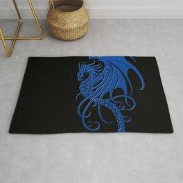 Flying Blue and Black Tribal Dragon Rug