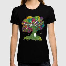 Tree Black LARGE Womens Fitted Tee