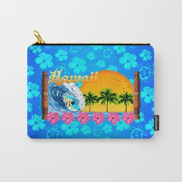 Hawaiian Surfing And Honu Pattern Carry-All Pouch