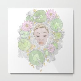 Water Lily Lady Metal Print