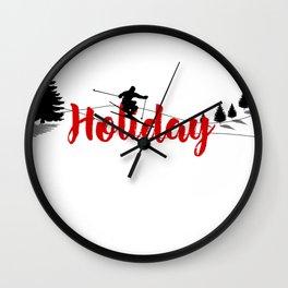 Ski at Holiday Wall Clock