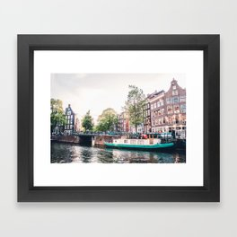 Amsterdam House Boats on Canal | Europe City Travel Urban Landscape Photography Framed Art Print