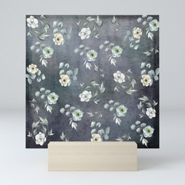 White Flowers and Grey Leaves Mini Art Print