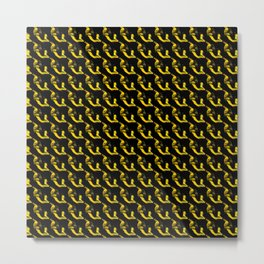YELLOW AND BLACK CHAINLINK PATTERN FOR GROOVY PEEPS Metal Print