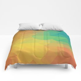 Geometric Pattern // Intricate Detailed Shapes // Gradient Colors (Orange, Yellow, Teal, Green, Red) Comforters