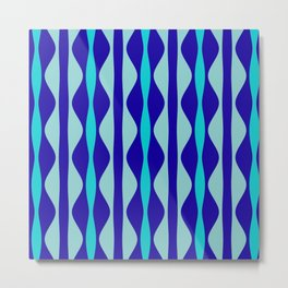 Curvy Blue Stripes Metal Print