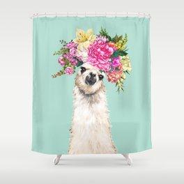 Flower Crown Llama in Green Shower Curtain