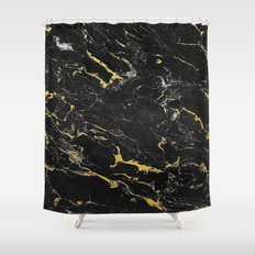 Gold Flecked Black Marble Shower Curtain