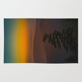 Pretty Pastel Yellow Red Green Sunset With Lone Pine Tree Silhouette Rug