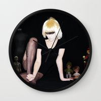 blade runner Wall Clocks featuring Pris, Blade Runner by lauraruiz