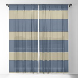 Blue and Gold Horizontal Stripes Sheer Curtain