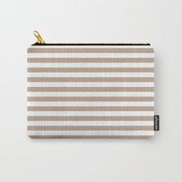 Pantone Hazelnut and White Uniform Stripes Fat Horizontal Lines Carry-All Pouch