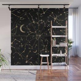 Gold Glitter Zodiac Constellations in Black Wall Mural