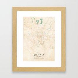 Bishkek, Kyrgyzstan - Vintage Map Framed Art Print