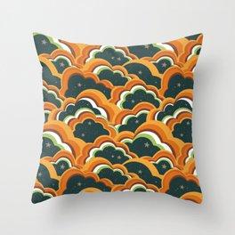 Retro 70s Boho Clouds Oranges greens Throw Pillow