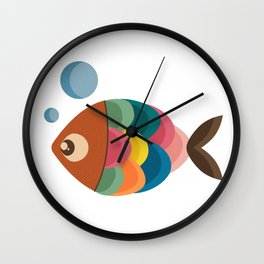 Colorful Fish Underwater Single Swimmer Wall Clock