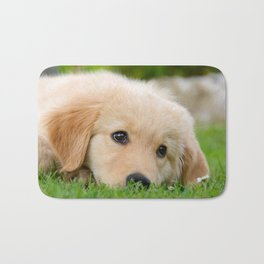Golden Retriever puppy, cute dog Bath Mat