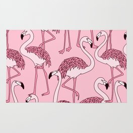 Pink Flamingos Print Rug