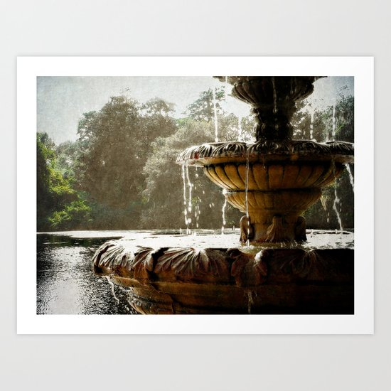 Fountain by the sound Art Print
