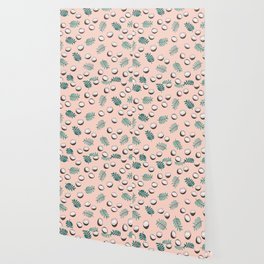 Little coconut garden summer surf palm leaves pink Wallpaper