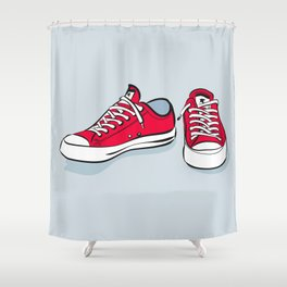 Red Sneakers Shower Curtain