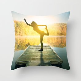 Yoga on the Lake Throw Pillow