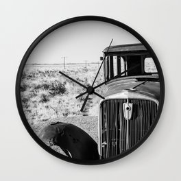 Abandoned Old Car In Desert Wall Clock
