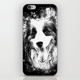 border collie shepherd dog splatter watercolor white iPhone Skin
