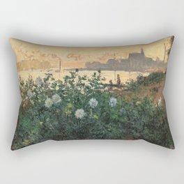 Flowered Riverbank, Argenteuil, Claude Monet Rectangular Pillow
