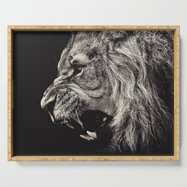 Angry Male Lion Serving Tray