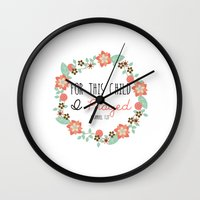 bible verse Wall Clocks featuring Bible Verse - For This Child I Prayed by Petite Joy Print