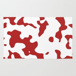 Large Spots - White and Firebrick Red Rug